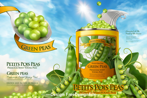 Canned peas ads poster vector illustration