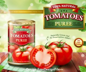 Canned tomato puree ads vector