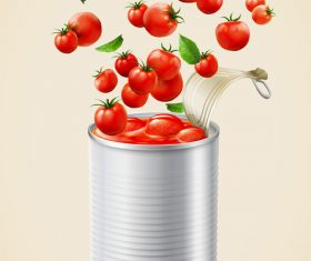 Canned tomato puree ads with fresh vegetables vector