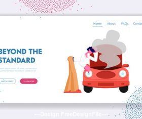 Car radiator reaches boiling point flat banner vector