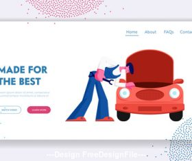 Car repair flat banner vector
