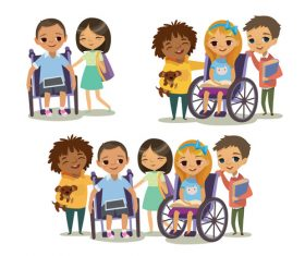 Caring for disabled children vector