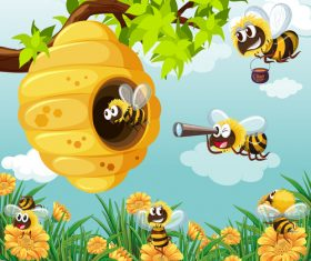 Cartoon Bees and Hive vector