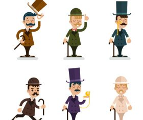 Cartoon Victorian Gentleman vector 01