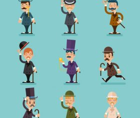Cartoon Victorian Gentleman vector 02