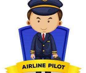 Cartoon airline pilot illustration vector