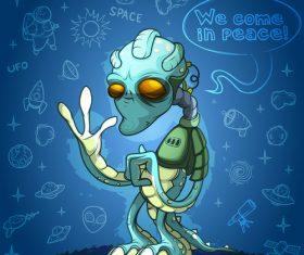 Cartoon alien illustration vector 01