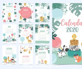 Cartoon animal 2020 calendar vector