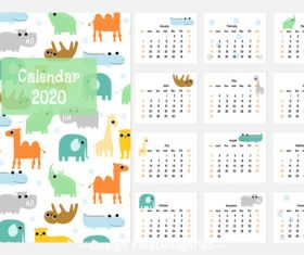 Cartoon animal desktop calendar 2020 vector