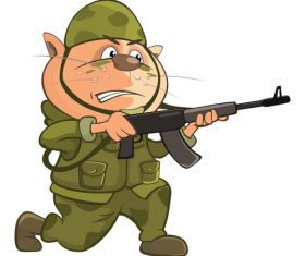 Cartoon animal soldier vector