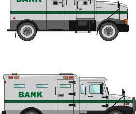 Cartoon bank cash transport car illustration vector