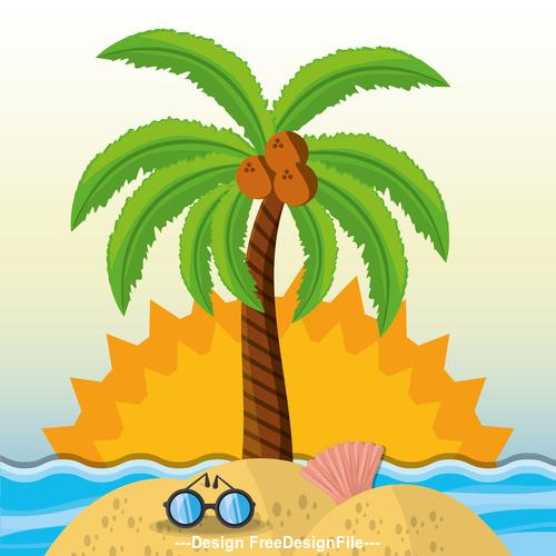 Cartoon beach coconut tree vector
