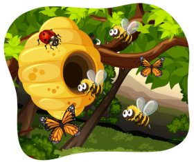 Cartoon bee protecting beehive vector