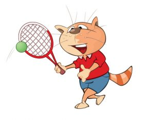 Cartoon cat playing tennis vector