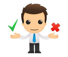 Cartoon character pair and wrong symbol vector