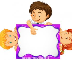Cartoon children and drawing board vector