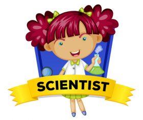 Cartoon female scientist illustration vector