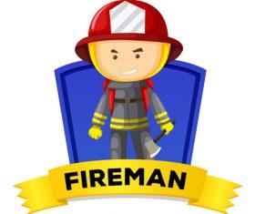 Cartoon fireman illustration vector