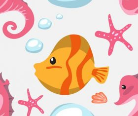 Cartoon fish and coral vector