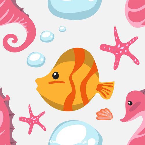 Cartoon fish and coral vector