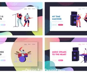 Cartoon flat banner music people set vector