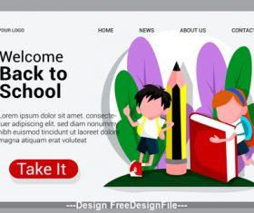 Cartoon flat welcome back to school vector