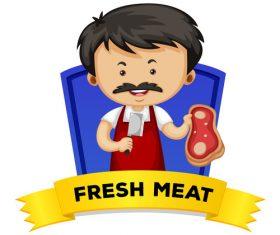 Cartoon fresh meat illustration vector