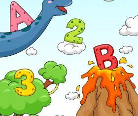 Cartoon giraffe and numbers vector