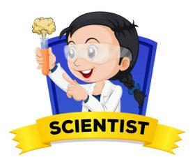 Cartoon girl doing experiment illustration vector