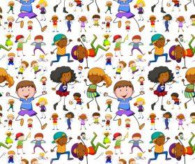 Cartoon happy children seamless background vector