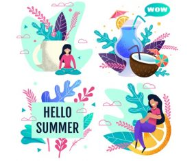 Cartoon hello summer vector