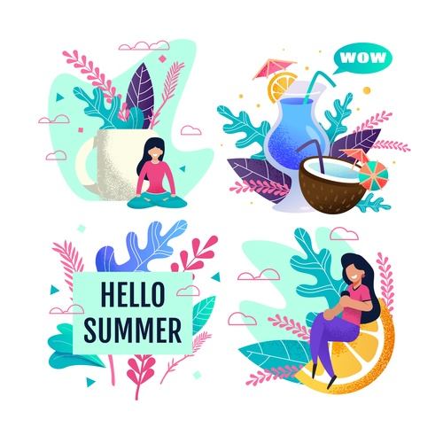 Cartoon hello summer vector