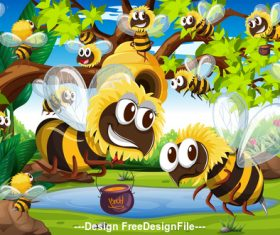 Cartoon hordes of Bees and honey vector