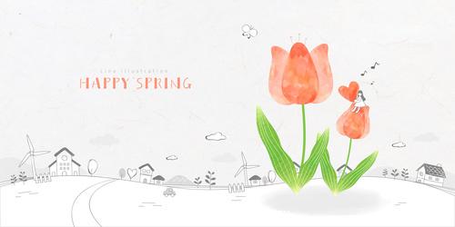 Cartoon illustration of little girl sitting on flowers vector