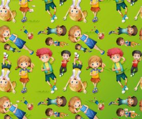 Cartoon little boy and little girl seamless background vector