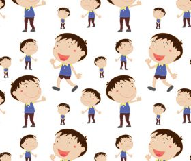 Cartoon little boy seamless background vector
