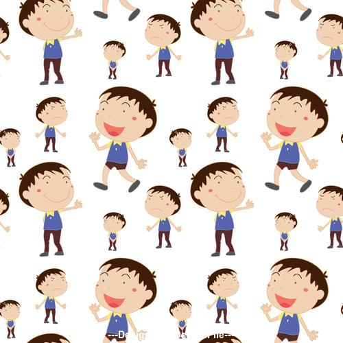 Cartoon little boy seamless background vector