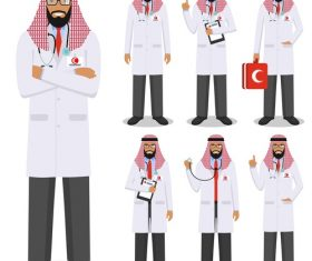 Cartoon muslim doctor vector