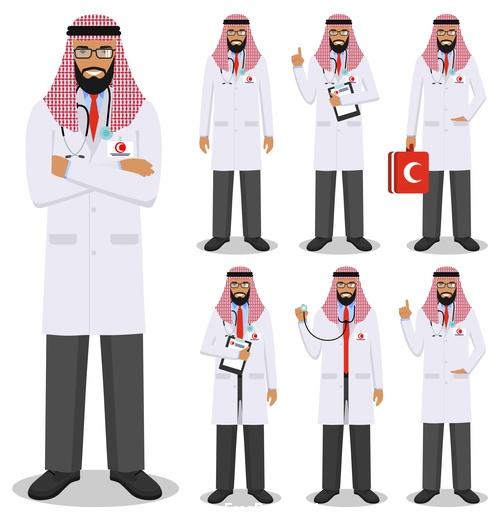 Cartoon muslim doctor vector