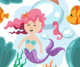 Cartoon nautical mermaid vector
