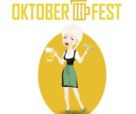 Cartoon oktoberfest waitress vector