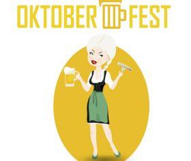 Cartoon oktoberfest waitress vector