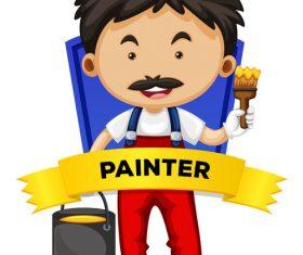 Cartoon painter illustration vector