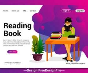 Cartoon reading book vector
