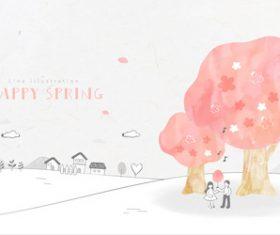 Cartoon romantic dating illustration vector