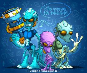 Cartoon three alien illustration vector