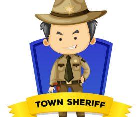 Cartoon town sheriff illustration vector