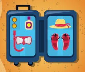 Cartoon travel suitcase vector