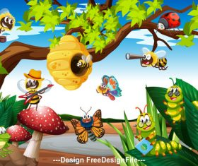 Cartoon various insects vector