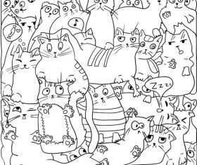 Cat seamless background pattern vector